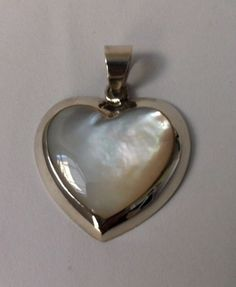 Mother of pearl 925 sterling silver pendant heart design fashion bobin boutique