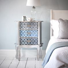 Shanghai Bedside Table - Silver and Brushed Blue