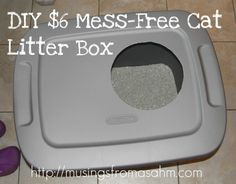 Do It Yourself Cheap Mess-Free Cat Litter Box. I saw a manufactured version of this price at around $35 at Off the Leash and thought -Thanks for the idea! Bought a 10 gallon for around $5 at Walmart and added a cat litter mat to the top to catch any litter that might end up coming up on the kitty feet. I'm going to spray paint it with a more friendly matching color.