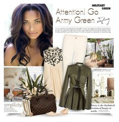 """""""Attention! Go Army Green"""" by thewondersoffashion ❤ liked on Polyvore featuring Monsoon, Louis Vuitton, J Brand, McQ by Alexander McQueen, Manolo Blahnik, Prada and Henri Bendel"""