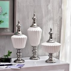 Современные белые керамические хранения банку с серебряной крышкой для дома украшения купить на AliExpress