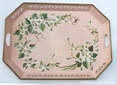 Vintage White Violets Handpainted Tole Tray Tole Pink.FrenchGardenHouse.com