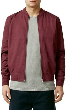 $80, Topman Cotton Bomber Jacket. Sold by Nordstrom. Click for more info: https://lookastic.com/men/shop_items/431427/redirect