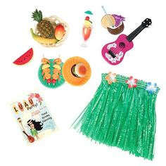 Your little one will love the Hawaiian Party Doll Accessories for her favorite doll. The fun set has bright and colorful pieces including a luau skirt, ukulele and fun luau foods. The doll accessories add an extra element of imagination for your child's favorite doll. Playing make believe just got even better. Recommended for ages 3 and up.