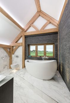 Timber framed dream home in Worcestershire exceeds couple's expectations Oak Framed Buildings, Oak Frame House, Luxury Modern Homes, British Home, Timber House, Modern Traditional, Contemporary Bathrooms, Bathroom Inspiration, Bathroom Interior