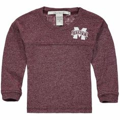 Mississippi State Bulldogs chicka-d Girls Toddler Varsity Jersey Top Long Sleeve Shirt - Maroon