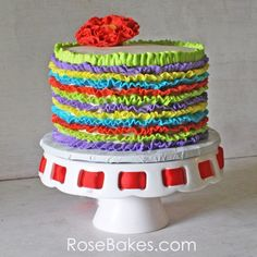 Happy Cinco De Mayo I love these colorful and beautiful cupcakes and cake! Her colors are perfect for any fiesta! Fiesta Cake, Fiesta Theme Party, Party Themes, Theme Ideas, Fun Ideas, Creative Party Ideas, Creative Cakes, Ruffle Cake, Ruffles