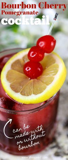 Bourbon Cherry Pomegranate Bourbon Recipes, Shot Recipes, Martini Recipes, Drinks Alcohol Recipes, Margarita Recipes, Non Alcoholic Drinks, Yummy Drinks, Drink Recipes, Virgin Cocktail Recipes