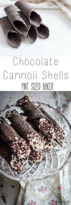 Chocolate Cannoli Shells Amazing dark chocolate cannoli shells are packed full of flavor! Fun Desserts, Delicious Desserts, Dessert Recipes, Yummy Food, Gourmet Desserts, Plated Desserts, Italian Desserts, Baking Recipes, Cookie Recipes