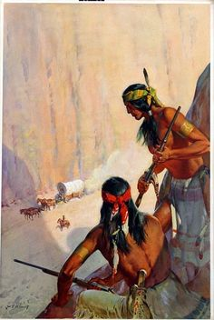 Wild West - The Hostile Hills - Corgi paperback cover art (Original) (Signed) art by James E McConnell - beautiful image Native American Paintings, Indian Paintings, Native American Indians, Western Comics, Western Art, Forte Apache, Westerns, American Indian Wars, Films