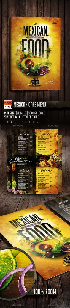 Mexican Cafe Menu — Photoshop PSD #food #street food • Download ➝ https://graphicriver.net/item/mexican-cafe-menu/19793012?ref=pxcr