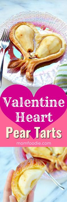 Valentine Heart Pear Tarts - Easy Puff Pastry Valentine's Day Dessert #tart #desserts #Valentinesday #valentine #heart #heartshaped