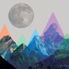 mountain meets moon collage by ninotschka www.konfettiregen.com