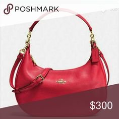 Coach bag red leather purse 100% authentic Nwt New cute Red Coach Bags Hobos