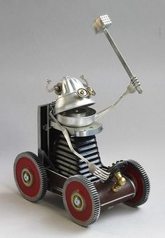 Victor - Found object robot assemblage sculpture by Brian Marshall   Flickr - Photo Sharing!