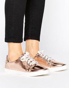Lost Ink Paige Rose Gold Toe Cap Sneakers