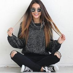 oversized sweater, wool knitted jumper, turtleneck sweater - Crystalline