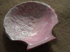 Pink Seashell Bowl - Ocean Dish - Natutical Pottery - Coastal Pottery by Earmarksdesigns on Etsy