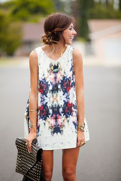 fashionista, cloth, style, printed tank, dresses, tank dress, closet, hair, shift dress outfit