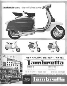 You may not be able to realize a dream of having a fleet of fully restored vintage cars, but you can be able to have the next best thing, a collection of vintage car models. Scooter Garage, Scooter Parts, Scooter Girl, Lambretta Scooter, Scooter Motorcycle, Vespa Scooters, Vintage Advertisements, Vintage Ads, Vintage Posters