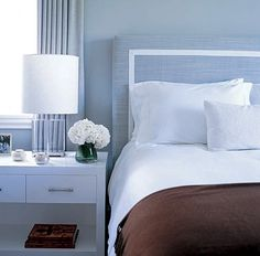 Calm, understated blue & brown bedroom: 'Gossamer Blue' by Benjamin Moore in Monique Lhuillier's home by xJavierx, via Flickr