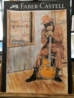 """i""""m Bluesman John Lee Hocker SoftPastel, Paper A2 By : Jaz Blues"""