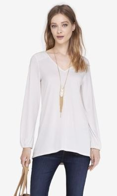V-NECK LACE-UP BACK TUNIC from EXPRESS