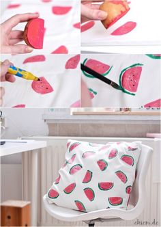 [ekiem]: [DIY] Melonen Kissen mit Kartoffeldruck DIY pillows This domain has been registered for a customer by nicsell Summer Crafts, Diy And Crafts, Crafts For Kids, Recycled Crafts, Potato Print, Summer Deco, Ideias Diy, Diy Pillows, Diy Shirt