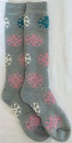 6 Pairs Women Comfort Socks Girls Snow Flake Hearts Long Crew Pack 9-11 Lot