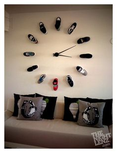 I like these giant wall clocks. Use any objects for the numbers.
