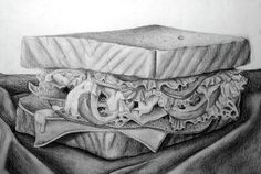 Sandwich Drawing Poster von Nancy Mueller - My CMS High School Drawing, Still Life Drawing, Cool Art Projects, Drawing Projects, Sandwich Drawing, Perspective Drawing, Point Perspective, 7th Grade Art, Middle School Art Projects