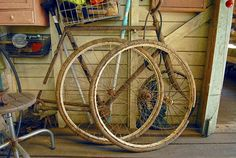 A pair of wheels with cork bike tyres. During World War Two there was a rubber shortage which led to bizarre solutions for cladding rims.