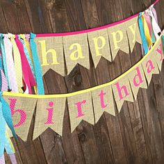 Pink yellow and teal burlap Happy Birthday banner for a pink lemonade themed party by MsRogersNeighborhood etsy shop