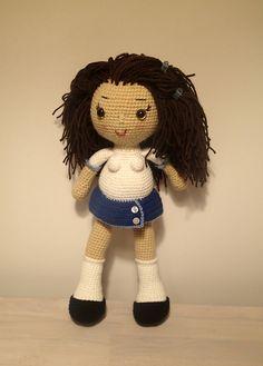 Crochet school girl doll with red underwear by Zwooczki on Etsy