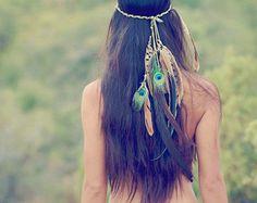 gaia's daughter... bohemian feather headdress // Spirit tribe, hippie, boho, headress, hair, wedding, holiday, gift, festival