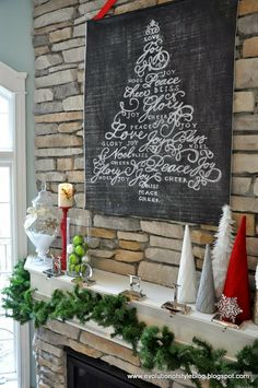 Our Holiday Mantel with a DIY Chalkboard design print