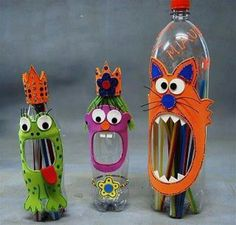 Bottle as Pencil holder - DIY for kids