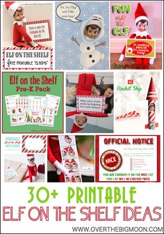 30+ Printable Elf on the Shelf Ideas from www.overthebigmoon.com!