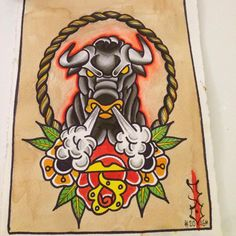 #copenhagentattoo #oldschooltattoo #flash #watercolor #bull#bulltattoo#tattoo…