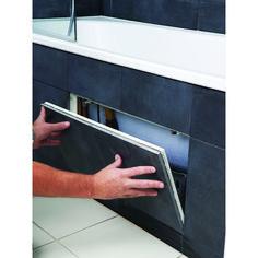 Tiled Bath Panel, Bath Tiles, Bathroom Tub Shower, Small Bathroom, Basement Bathroom, Bathroom Ideas, Bathrooms, Bath Panel Storage, Hidden Door Bookcase