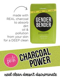 Charcoal Power!!! The Gender Bender Chunk is a Posh favorite. Made with real charcoal powder this big bar of soap gives you the deepest of cleans. Charcoal absorbs dirt, oil, and free-radical pollution from your skin. Real clean doesn't discriminate. Everyone will love it! Find a consultant now @ perfectlyposh.com
