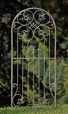 H Potter Large Garden Trellis Wrought Iron Heavy Scroll Metal Decoration Powder Coat Finish-Lawn, Patio & Wall Decor Screen for Rose, Clematis, Ivy-Assembly Required, Weather Resistant Yard Art Outdoor Wall Panels, Outdoor Screens, Outdoor Walls, Outdoor Privacy, Wrought Iron Trellis, Metal Garden Trellis, Wall Trellis, Trellis Gate, Wrought Iron Garden Gates