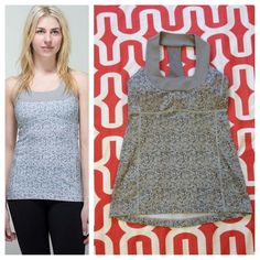 Lululemon Scoop Tank Petite Fleur Silverspoon/Ambient Grey. Excellent condition. Fabrication Luon, COOLMAX. Medium support, body skimming, includes cup inserts. No trades. No PayPal. lululemon athletica Tops Tank Tops
