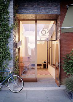 Kjellander + Sjöberg Architects - Etaget - Entrésituation, material, ljus, gränser, grönt, plats för cykel.