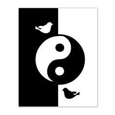 Ying Yang black and white print printable wall art by gonulk