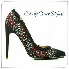 """GX by Gwen Stefani Jungo heels. Pointed toe shoes with imbroidery like texture - very rich look. Cup toe Colors: black, red, white.  Details: heel 4-3/4"""", plarform 1/2"""", fits 1/2 size small, runs narrow. This shoe won't stretch much because of canvas upper, so will fit size 6.5 best.  Please use only ✔OFFER  button for all price negotiations. I'll do a price drop⤵ for you for discounted shipping, if we agree about the price. GX by Gwen Stefani Shoes Heels"""