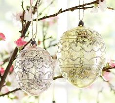 Patterned Egg Ornament, Set of 2 #potterybarn   I like these alot. Soft pastel metallic colors with glitter design, that is an Easter Egg!