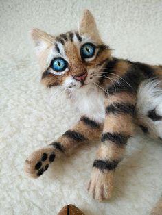 Artist Cat/ Needle Felted Cute Bengal Kitten/ OOAK/