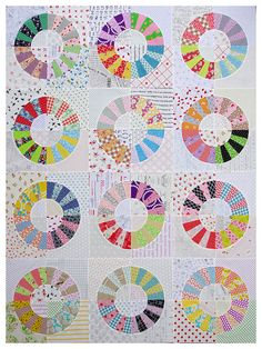 Scrappy Color Wheel Patchwork Quilt by redpepperquilts on Etsy Dresden Quilt, Circle Quilts, Quilt Blocks, Quilt Top, Paper Piecing Patterns, Quilt Patterns, Quilting Projects, Quilting Designs, Quilt Design