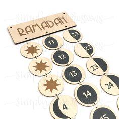 Ramadan Lunar Moon Cycle count down advent Muslim Islamic Calendar Ramadan, Hijri Calendar, Lunar Moon, Moon Phases, Chinese New Year, Advent, Birthdays, Eid Decorations, Busy Bags